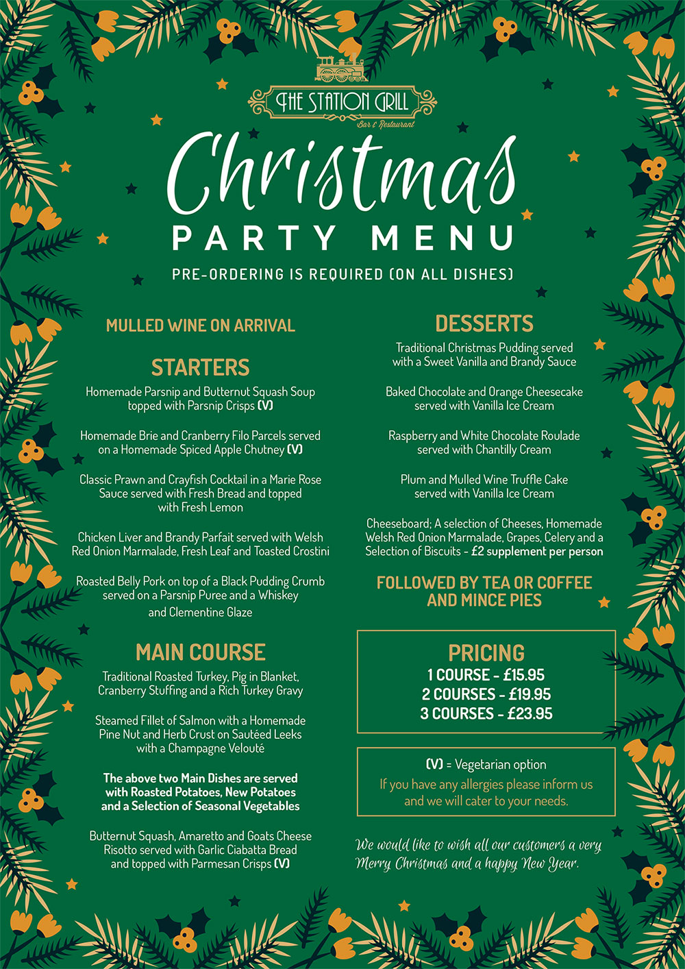 The Station Grill Christmas Party Menu
